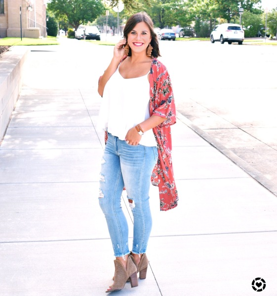 White Tank & Long Floral Duster