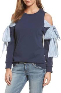 Cold Shoulder Tie Sleeve Sweatshirt