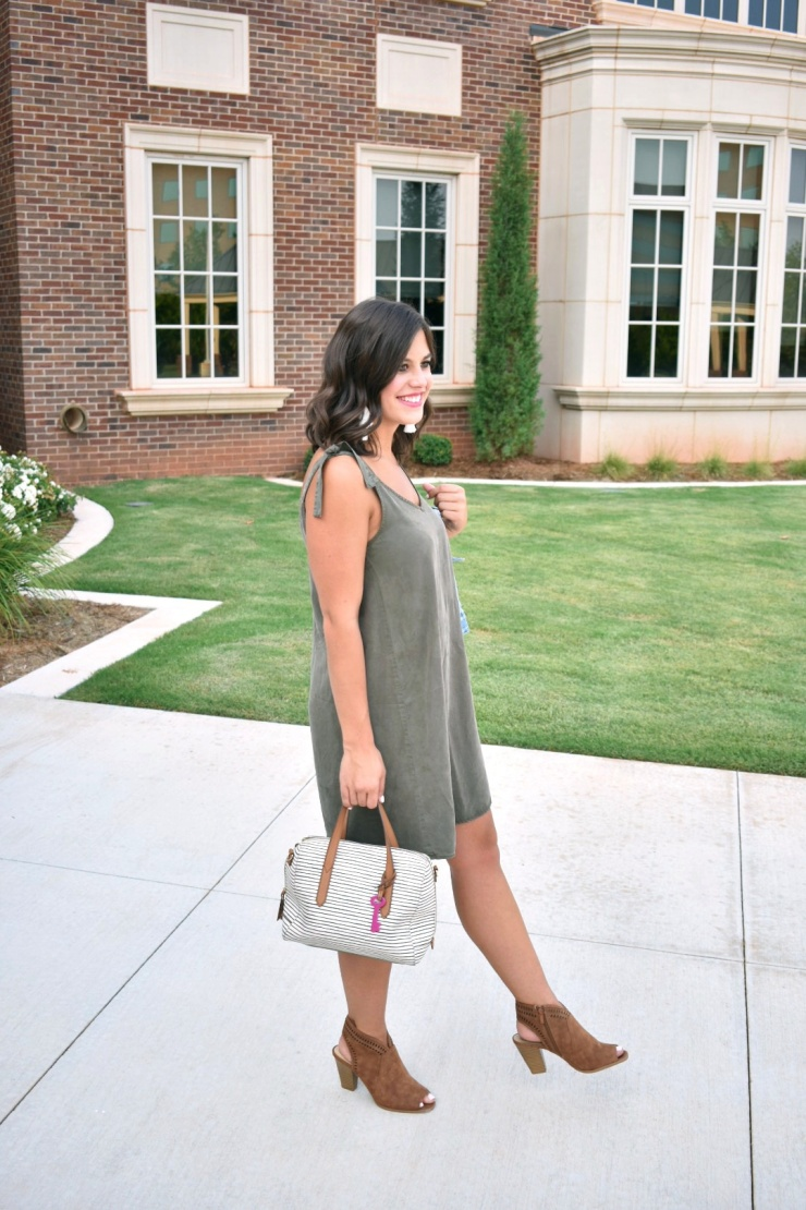 Olive Green Dress // Jean Jacket // Peep Toe Booties //