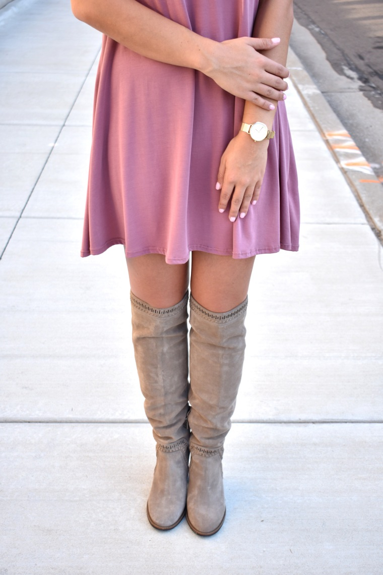 Over the Knee Boots // Blush Dress // Floral Kimono