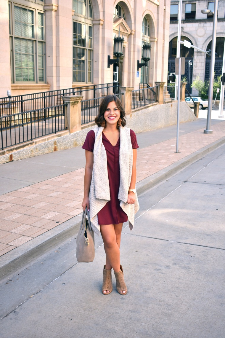 Drape Front Sweater Vest // Red Dress // Fall Look