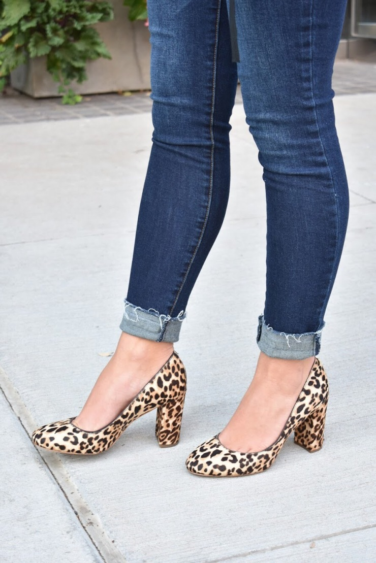 Front Wrap Sweater // Leopard Heels// Dark Wash Jeans