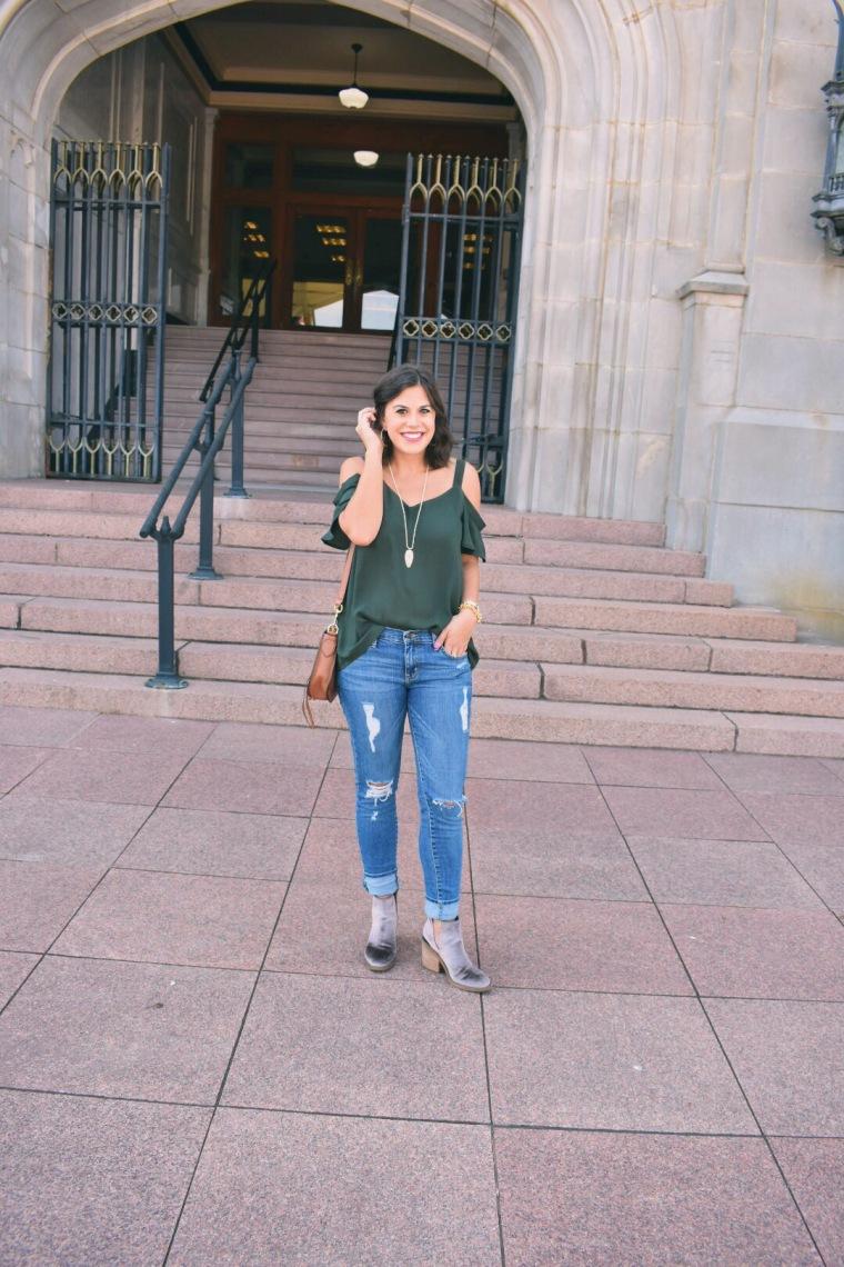Green off the shoulder top // velvet booties // Distressed Jeans // Kendra Scott // Rebecca Minkoff Saddle bag