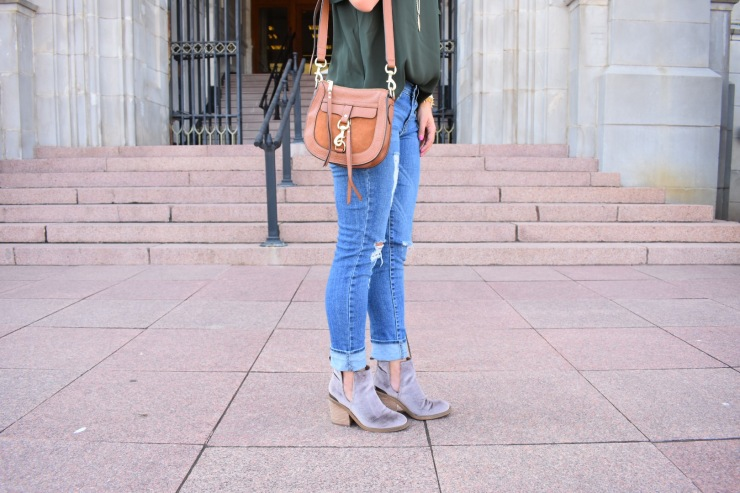 Green off the shoulder top // velvet booties // Distressed Jeans // Kendra Scott // Rebecca Minkoff Saddle bag