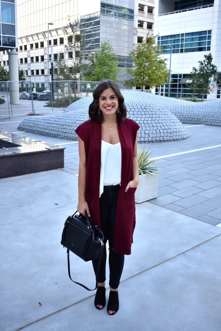 Fall Color Trends in Red & Long sweater vests + Kate Spade Black bag