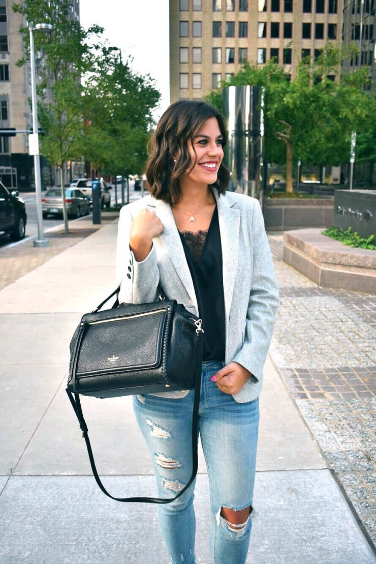 Casual look with grey blazers
