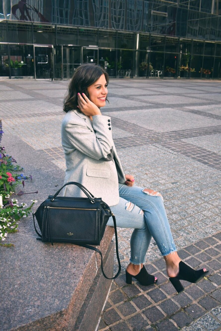 Grey Blazer for a casual look
